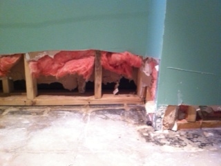 Drywall Cutaway, After Flood Waters Are Mopped Up